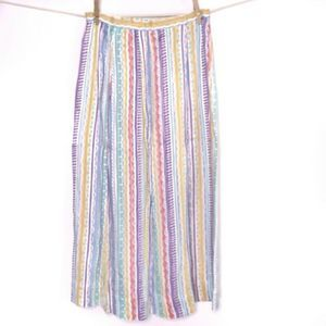 Vintage 80s Midi Skirt 6 Multicolor Striped Long